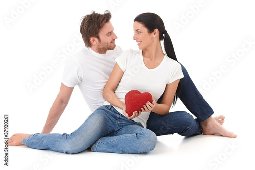 Romantic couple at Valentine's day smiling