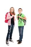 Schoolchildren with backpacks poster