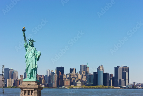 New York skyline with Statute of Liberty