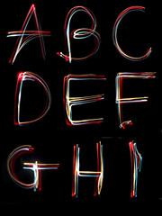 alphabet light neon writing long exposure