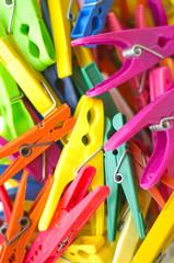 Colorful clothespins closeup