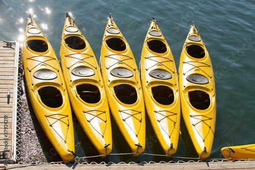 Yellow sea kayaks in Bar Harbor, Maine