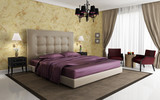 Fototapety Chic luxury hotel purple gold bedroom, with chandelier