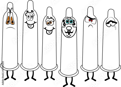 assorted condoms in cartoon style