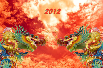 Chinese golden dragon with column and sky background,2012