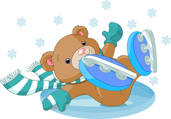Cute bear fell to the ice rink