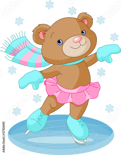 Cute bear girl on ice skates