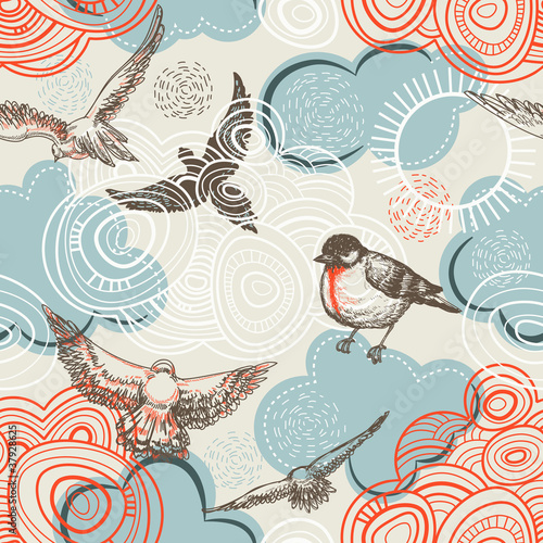 Birds and clouds seamless pattern - 37928625