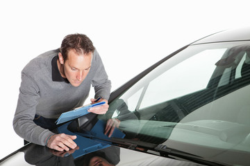 Insurance claim, expert at work