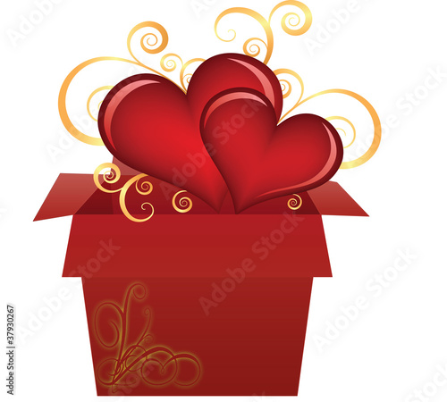 Box with hearts.