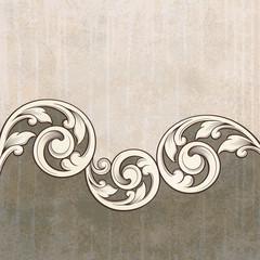 Vintage scroll engraving pattern at grunge background