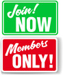 Website Members Only or Join Website signs