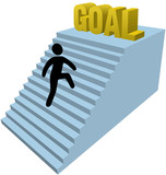Stick figure person climb steps achieve goal