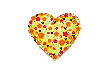 Herz aus Blumen im weißen Htgr.