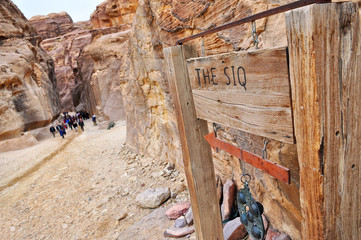 The Siq sign and entrance,entrance to city of Petra, Jordan