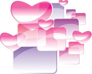 square and heart abstract background
