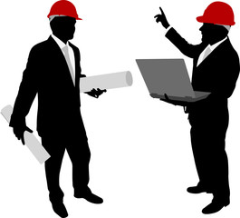 business people with hardhat holding laptop and plans