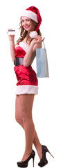 woman in Santa Claus clothes with credit card
