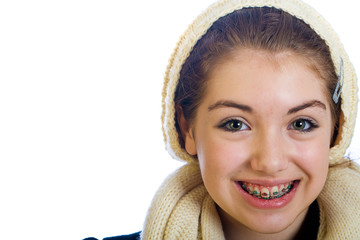 Teenage girl wearing braces
