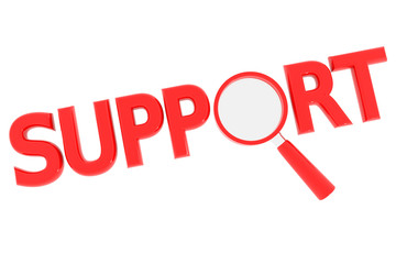 Red word SUPPORT with magnifying glass replacing letter O.
