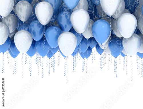 Leinwanddruck Bild White and blue party balloons isolated on white