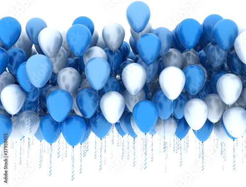 Blue and white party balloons isolated