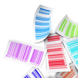 multicolored bar codes white background, sales