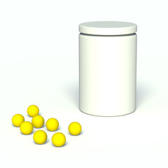 White jar with vitamins.