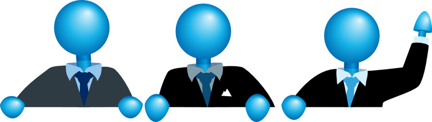top edge group of businessmen-blue heads