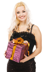 Beautiful woman with present box, white background