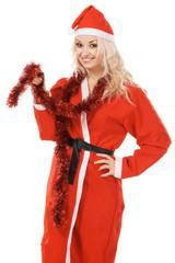 Beautiful woman in santa costume