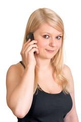 Blondes Mädchen am telefonieren