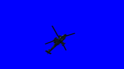 Apache helicopter landing. Including bluescreen.