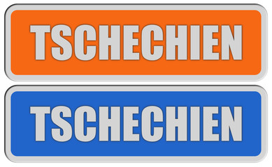 2 Sticker orange blau rel TSCHECHIEN
