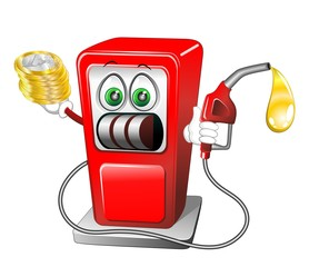 Caro Benzina Cartoon Fumetto-Expensive Gasoline Fuel-Vector