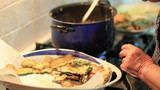 Expert cook fry bread and vegetables - Fried
