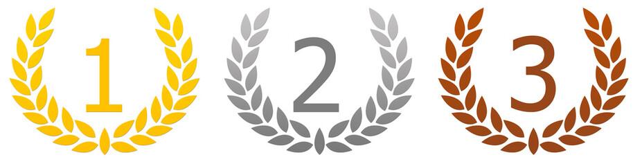 podium - médailles - couronne de lauriers
