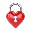 Heart padlock , isolated on white