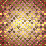 Gold hearts on red background , Valentine's day