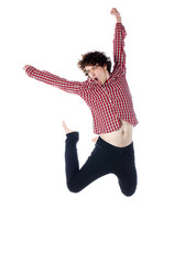 cool young man jumping around