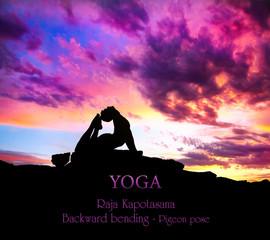 Yoga silhouette Raja Kapotasana pose