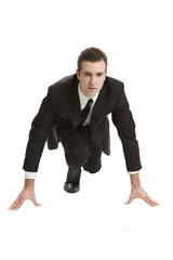 businessman pronto per sfidare il mercato