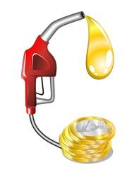 Caro Benzina Cartoon Pistola-Price Gasoline Fuel-Vector