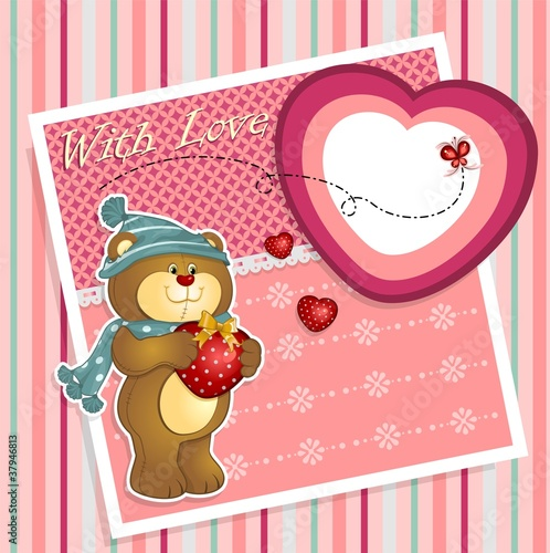 Teddy bear - striped background