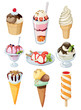 Set of tasty ice cream.