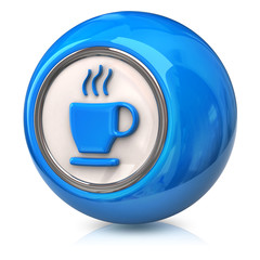 Blue icon of coffee