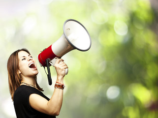 woman using megaphone