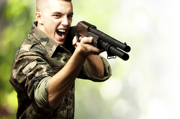 soldier aiming with a gun