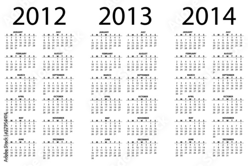 2012 - 2014 calendar