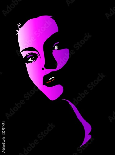 Viso Bella Ragazza Rosa-Beautiful Girl's Pink Portrait-Vector
